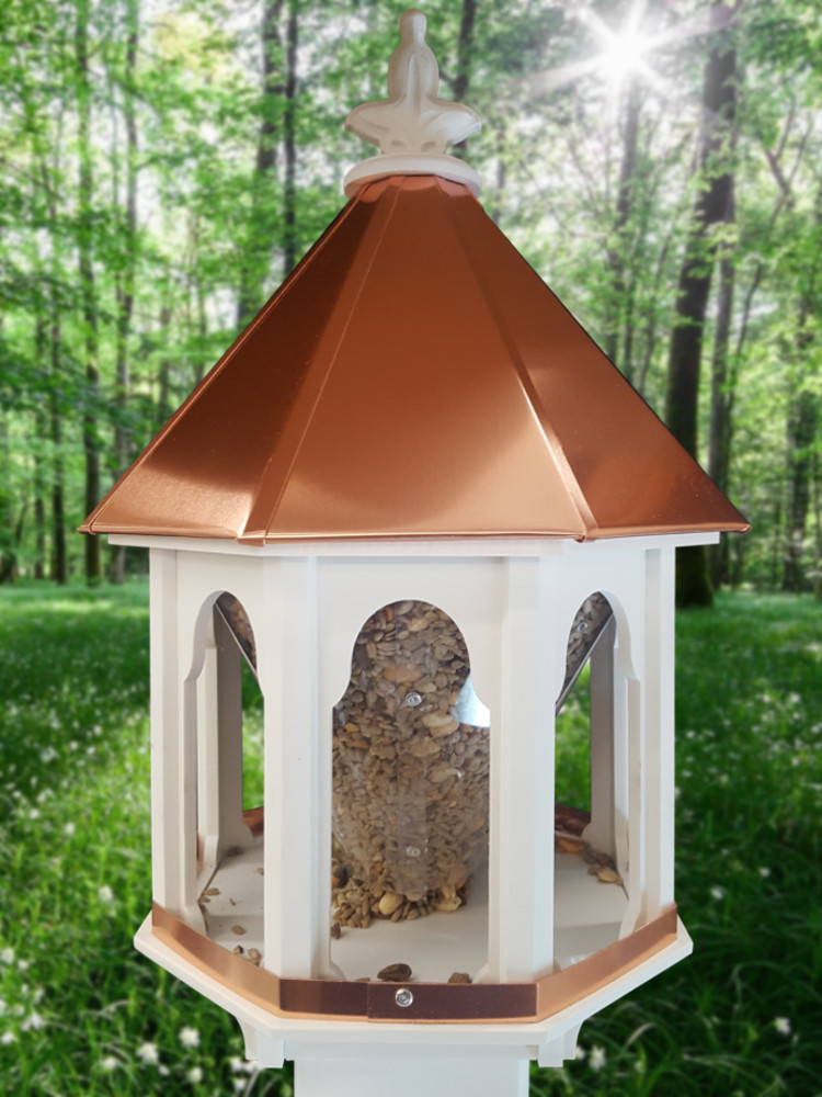 Sm Bird Feeder Copper Roof (f8c)