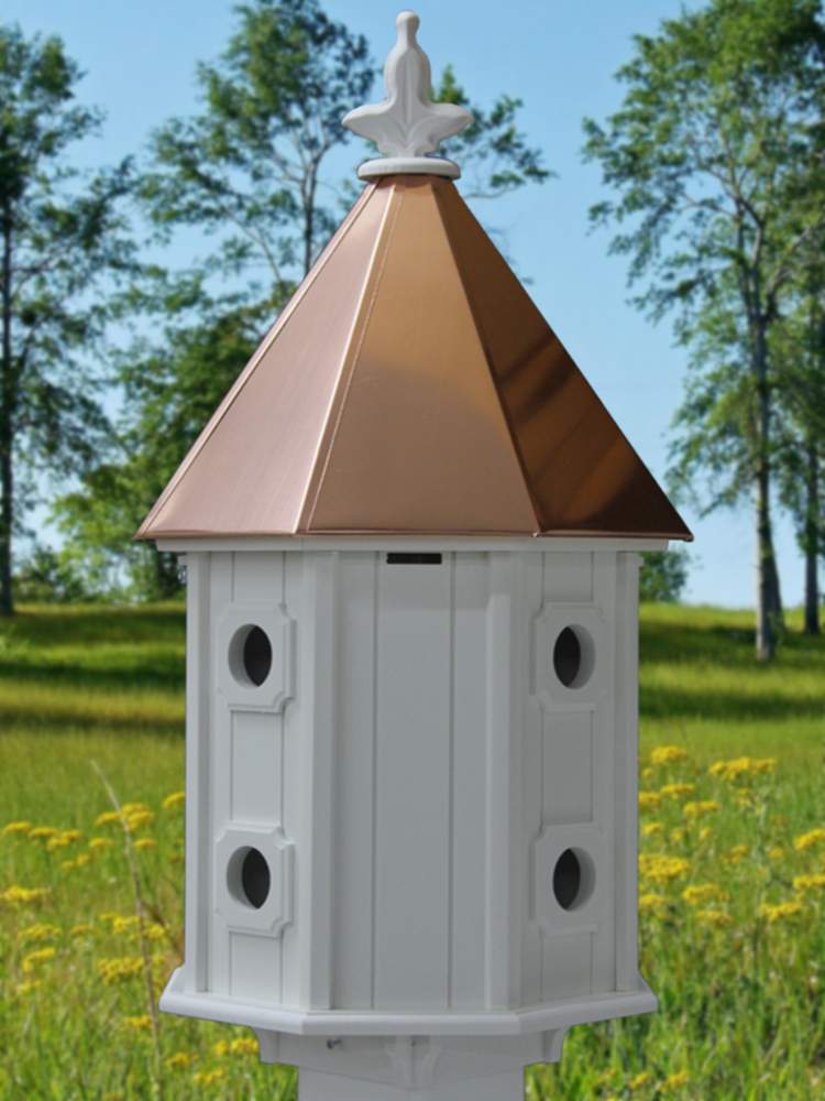 Two Story Bird House Copper Roof H14c