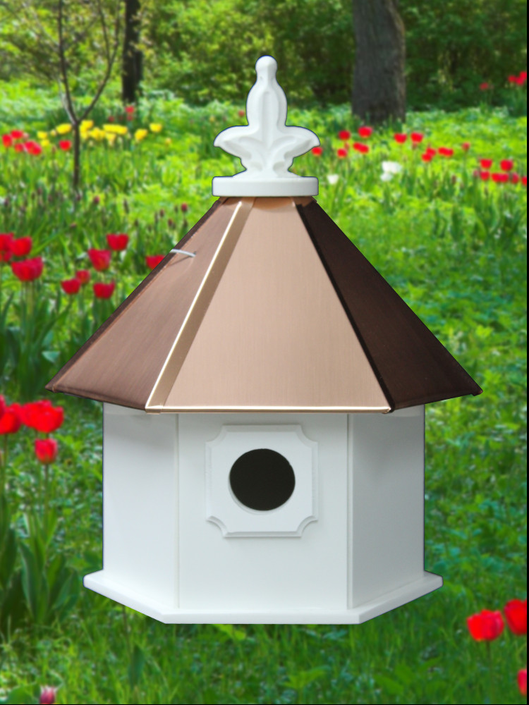 Hanging Bird House Copper Roof H6c